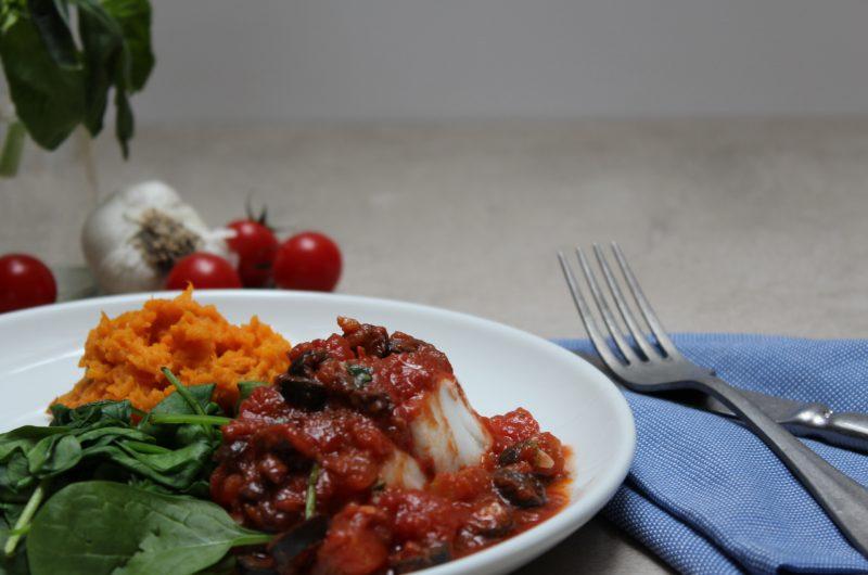Icelandic cod in puttanesca sauce