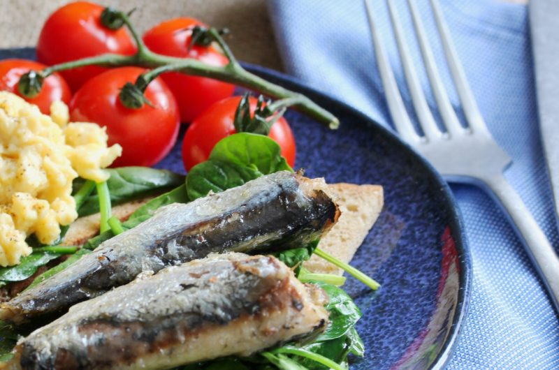 Omega 3 packed breakfast with sardines and scrambled eggs