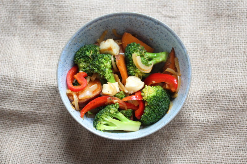 Halloumi, broccoli and spicy sweet potato stir fry