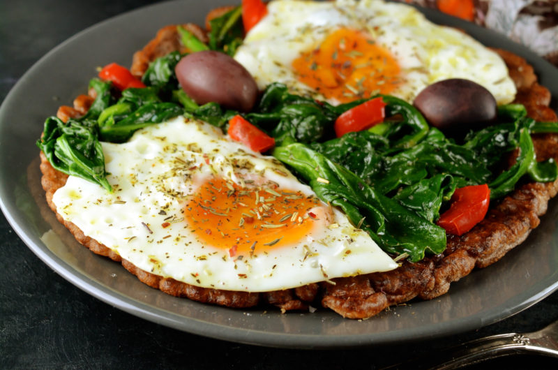 Buckwheat Pancakes with Spinach and Eggs